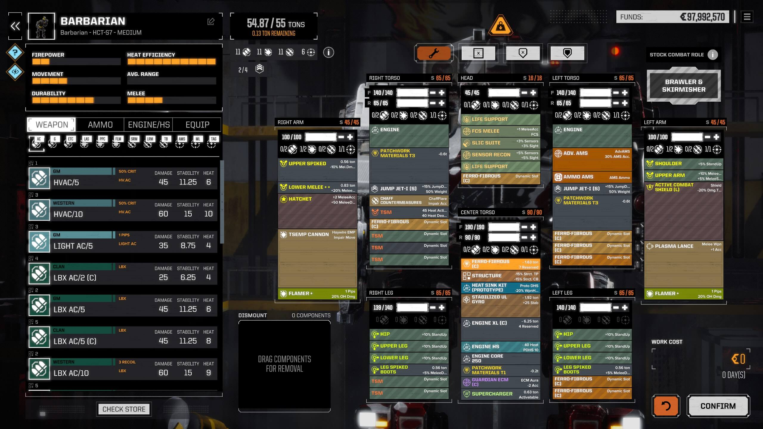 Melee medium mech build