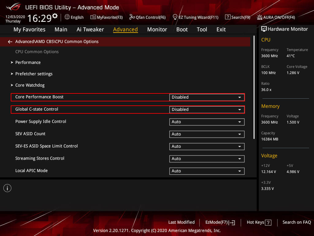 AMD CBS settings for the Ryzen 3700X