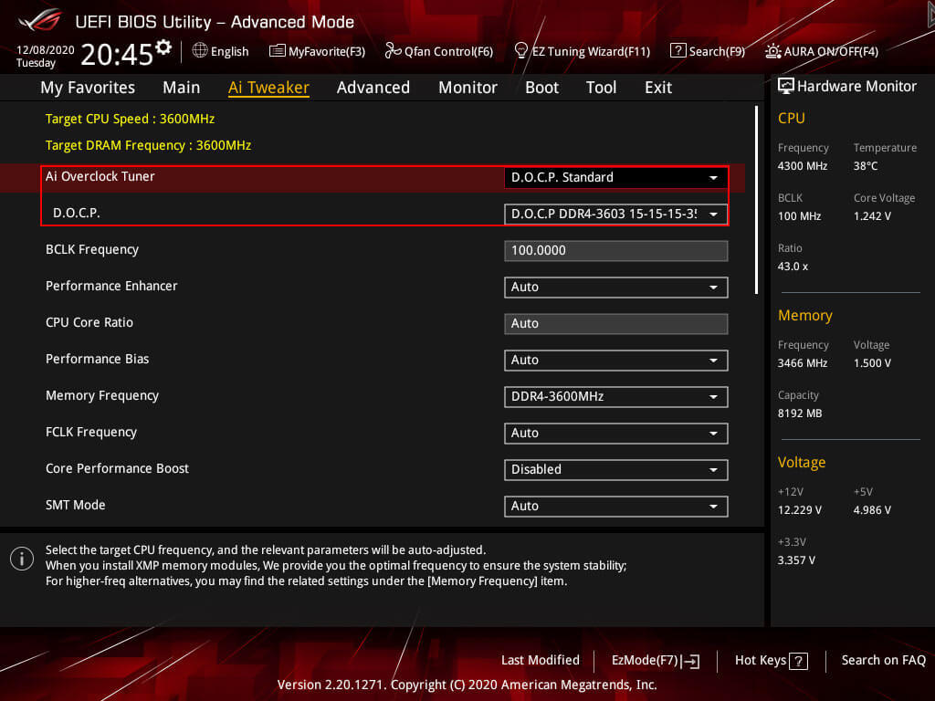 Default XMP profile for the 3700X on a B450 motherboard