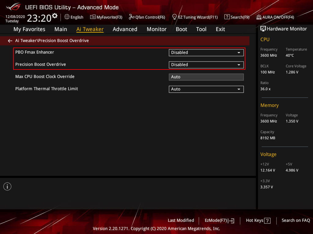 PBO 2.0 & Fmax Enhancer settings for manual overclock