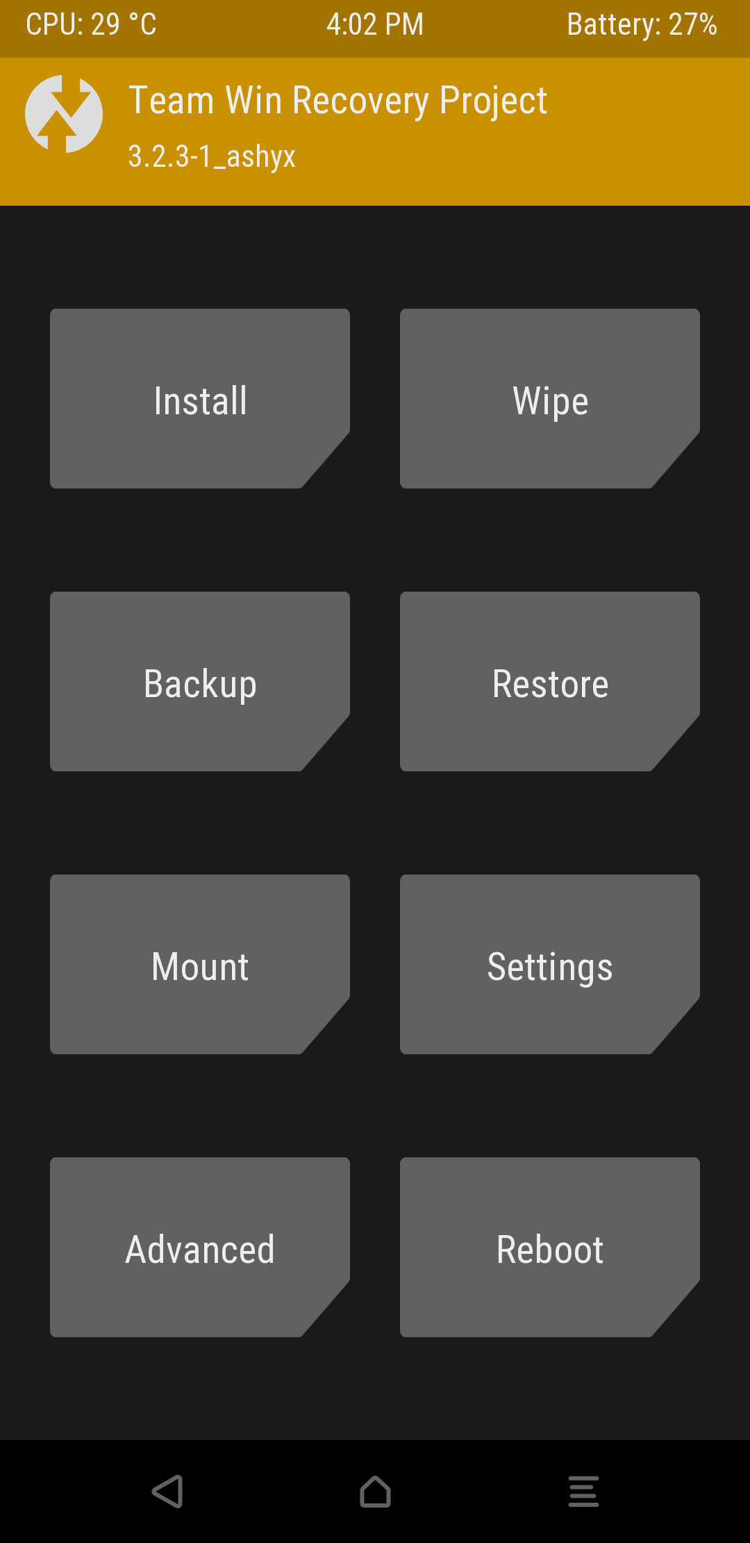 TWRP custom recovery menu